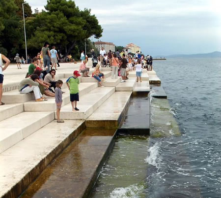 The popular Sea Organ in Zadar, Croatia